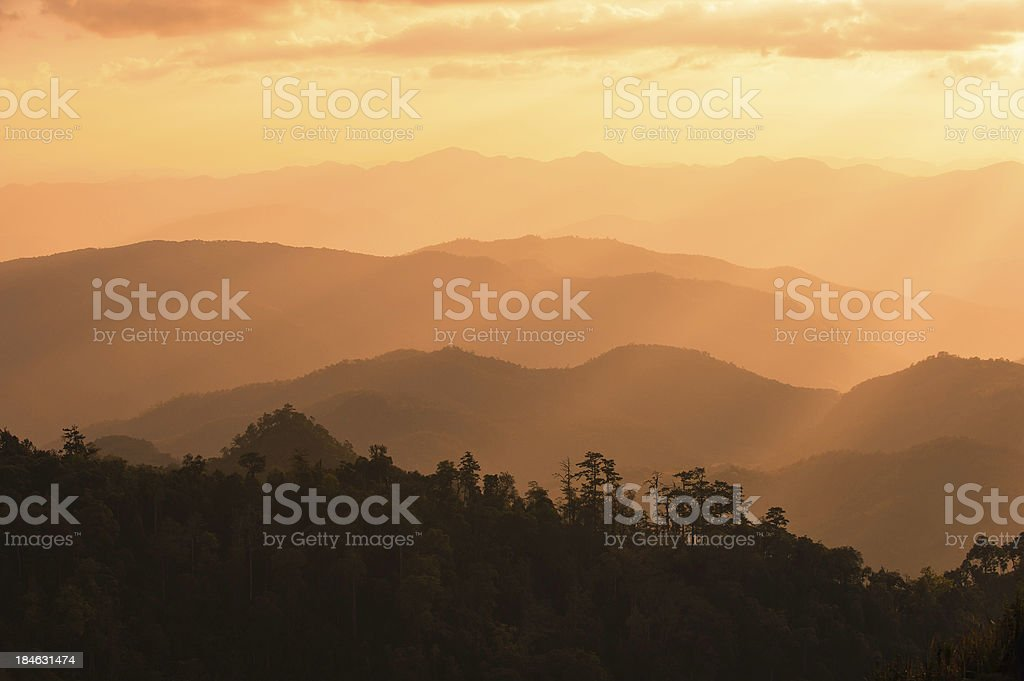 Sunrise on the Mountains stock photo