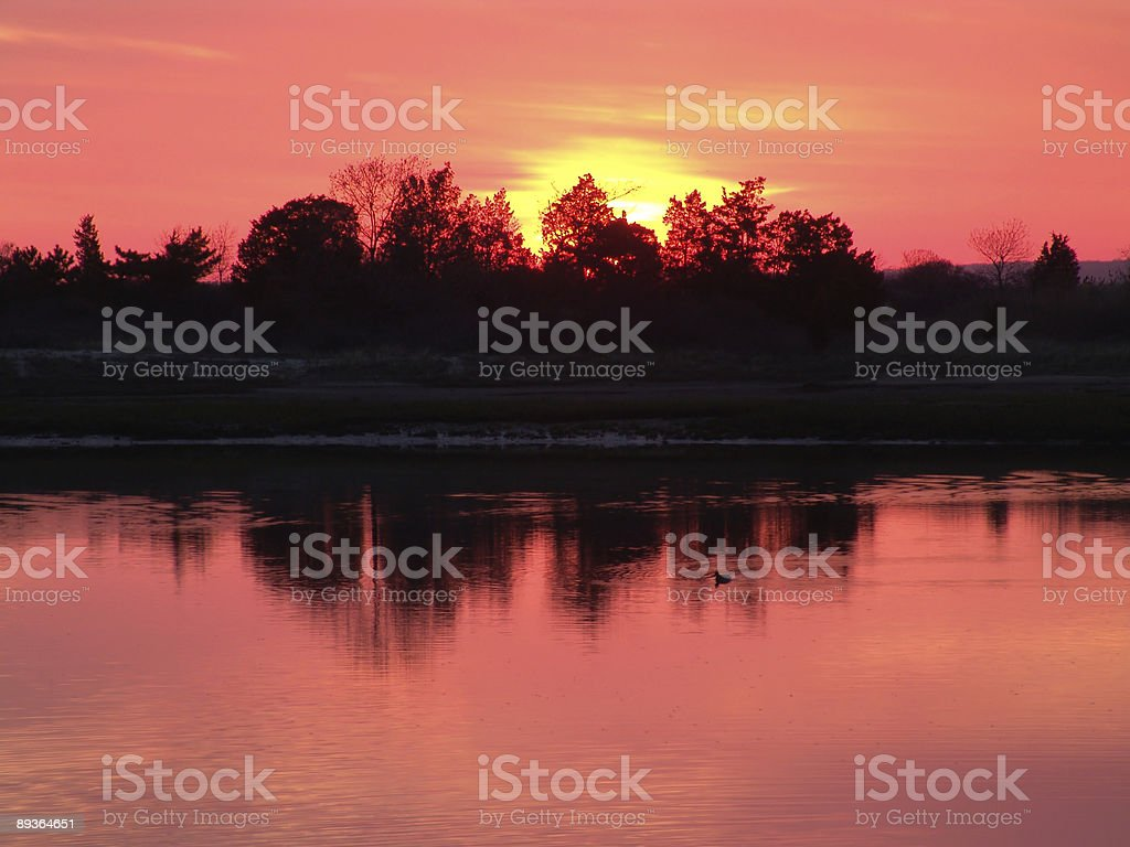 Sunrise on the Nissequogue River royalty free stockfoto