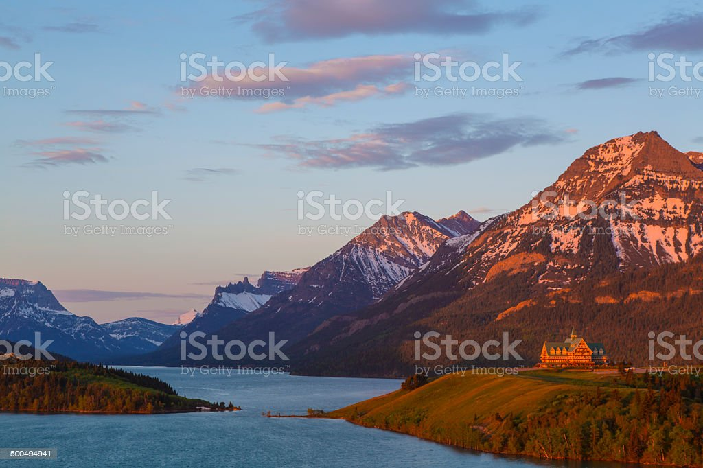 Sunrise on the Prince of Wales Hotel stock photo