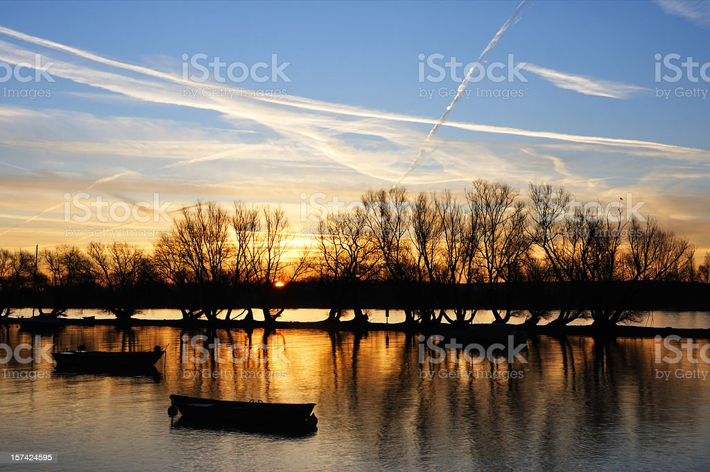 sunrise on the Rhine river royalty-free stock photo