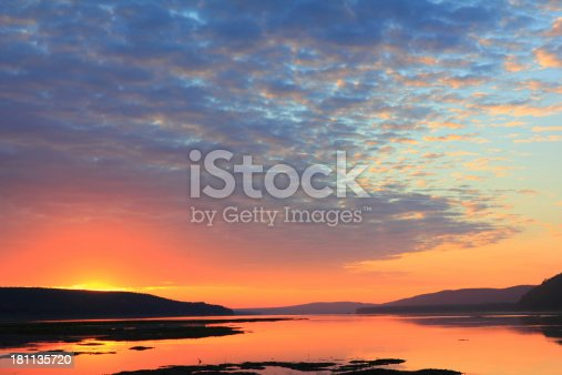 Sunrise on an Angara river, Siberia