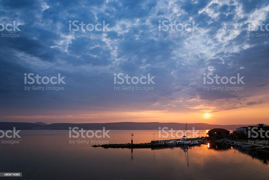 Sunrise on the sea in Dalmatia stock photo