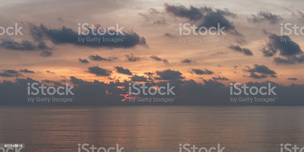 Sunrise on the sea. Morning on the Gulf of Thailand stock photo