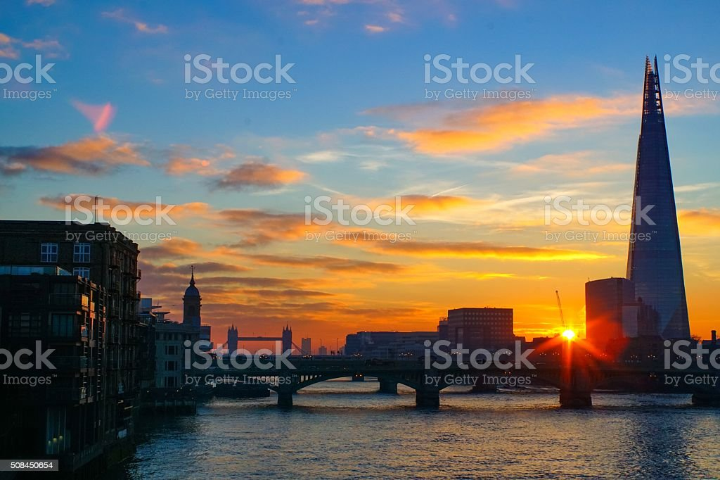 Sunrise on the Thames from the Millennium bridge stock photo