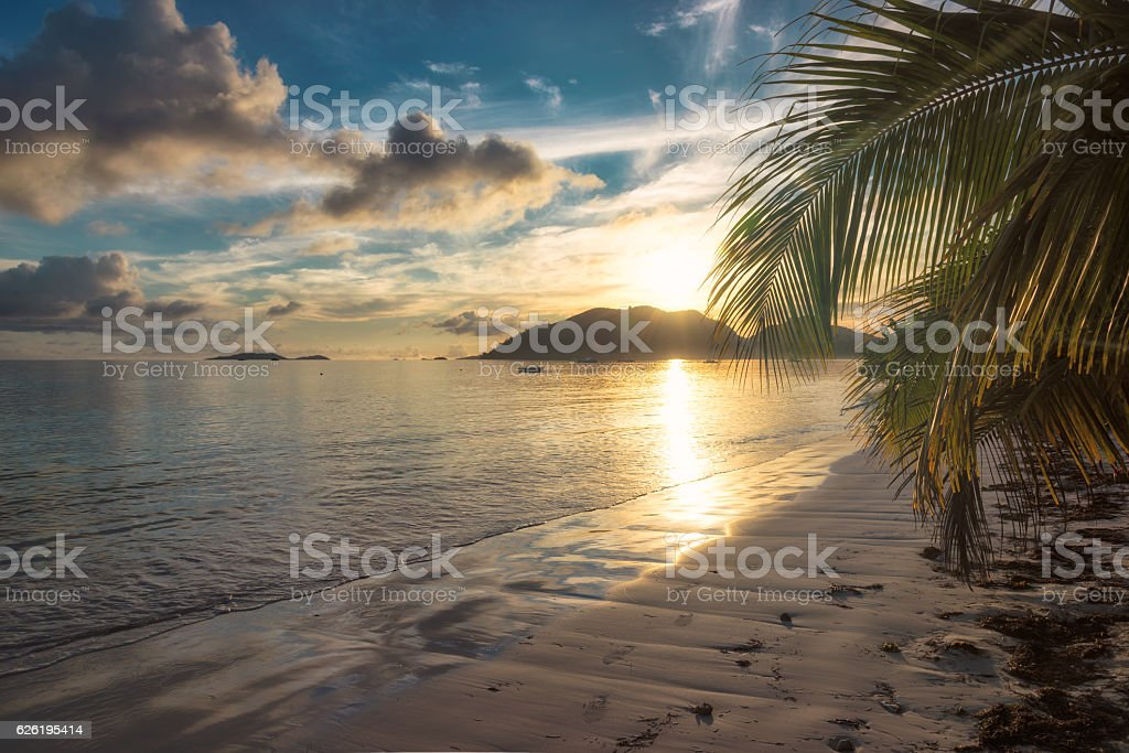 Sunrise on the tropical beach stock photo