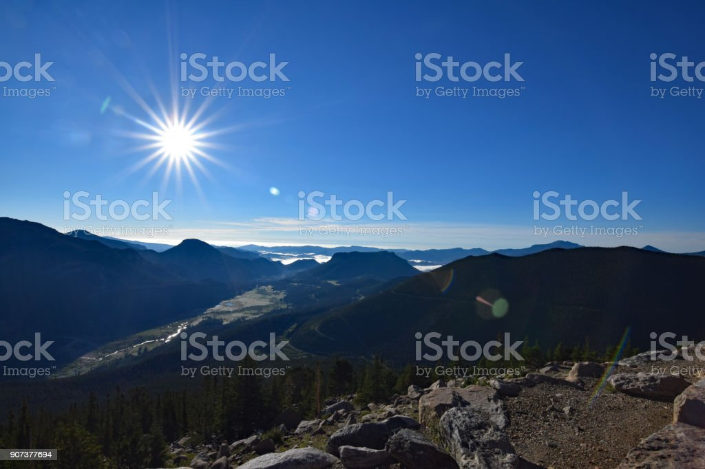 Sunrise on Top of the Rockies stock photo
