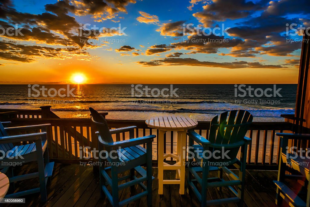 Sunrise on Topsail Beach North Carolina stock photo