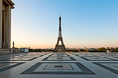 Sunrise on Tour Eiffel. The Trocadero place is empty during pandemic Covid 19 virus in Europe, without  tourists. Paris, in France. June 23, 2020.