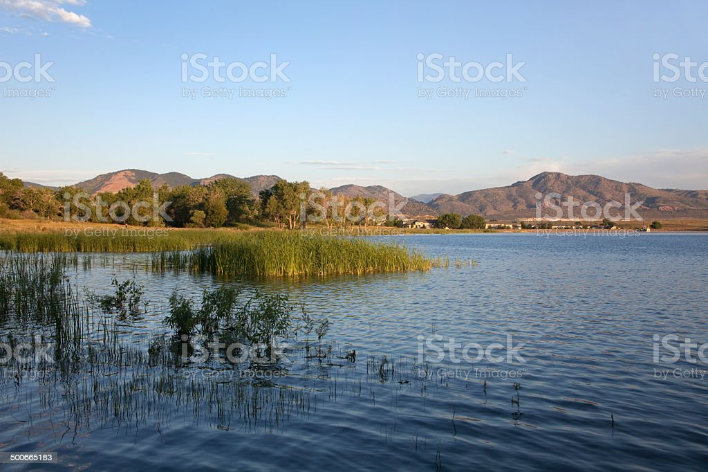 Sunrise on wetlands and mountains Denver Colorado royalty-free stock photo