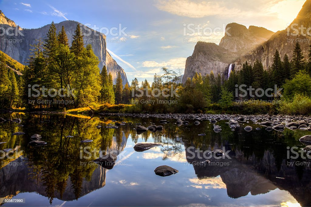 Sunrise on Yosemite Valley stock photo