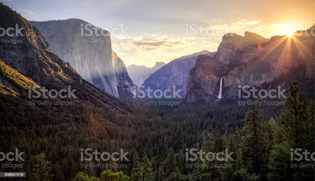 Sunrise on Yosemite Valley stock photo