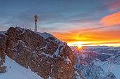 Sunrise on Zugspitze mountain summit