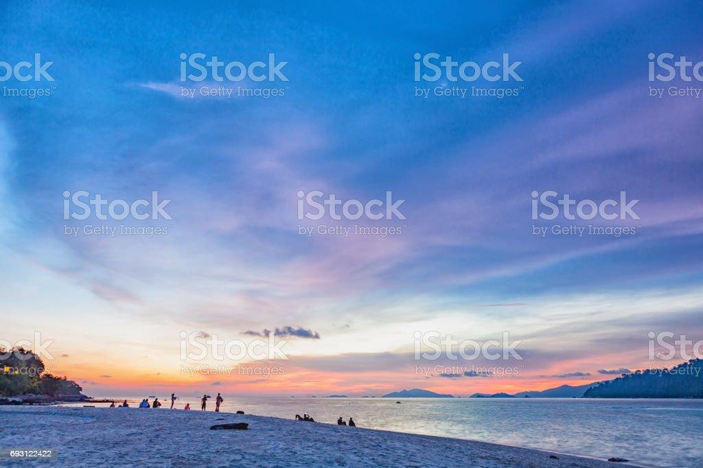 Sunrise or Sunset on beach. stock photo