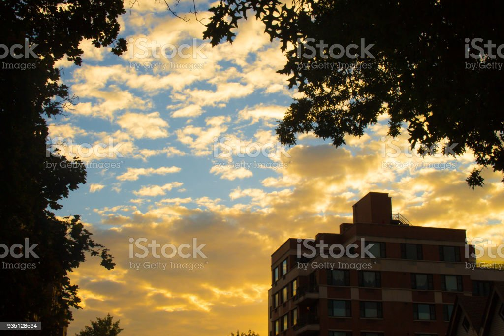 Sunrise Over a Building stock photo