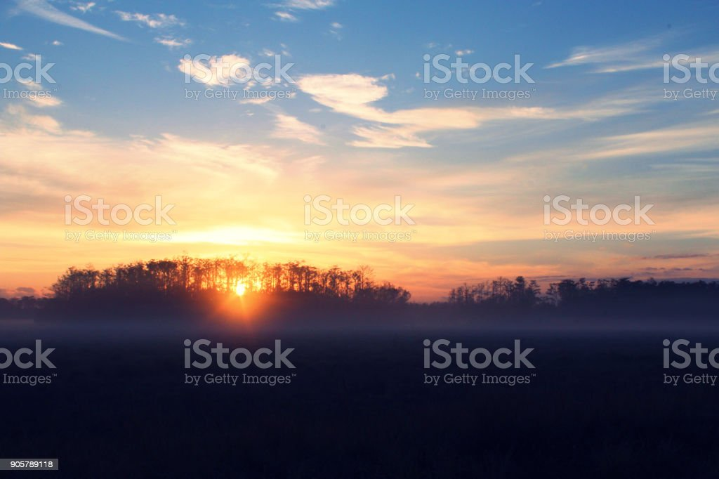 Sunrise Over a Farmers Field in Florida, United States of America stock photo