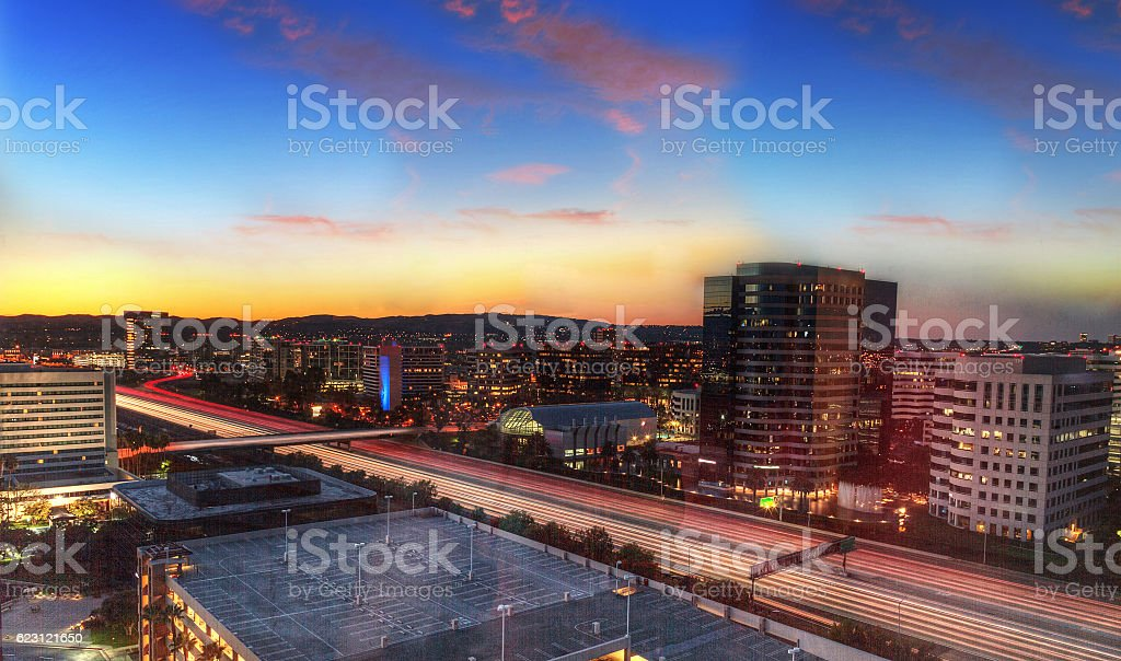 Sunrise over a highway in Irvine stock photo