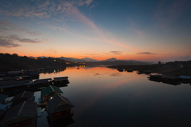 Sunrise over a Lake in Thailand stock photo