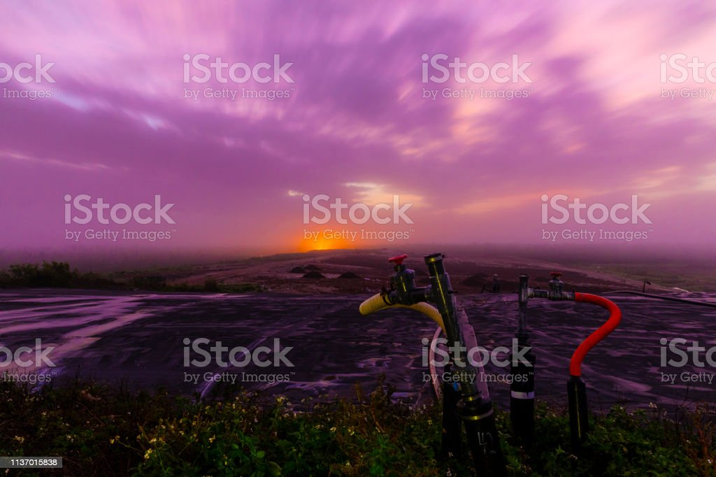 Sunrise over a Recycling Landfill stock photo