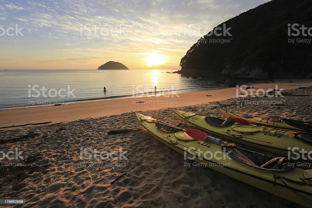 Sunrise over Abel Tasman National park, New Zealand stock photo