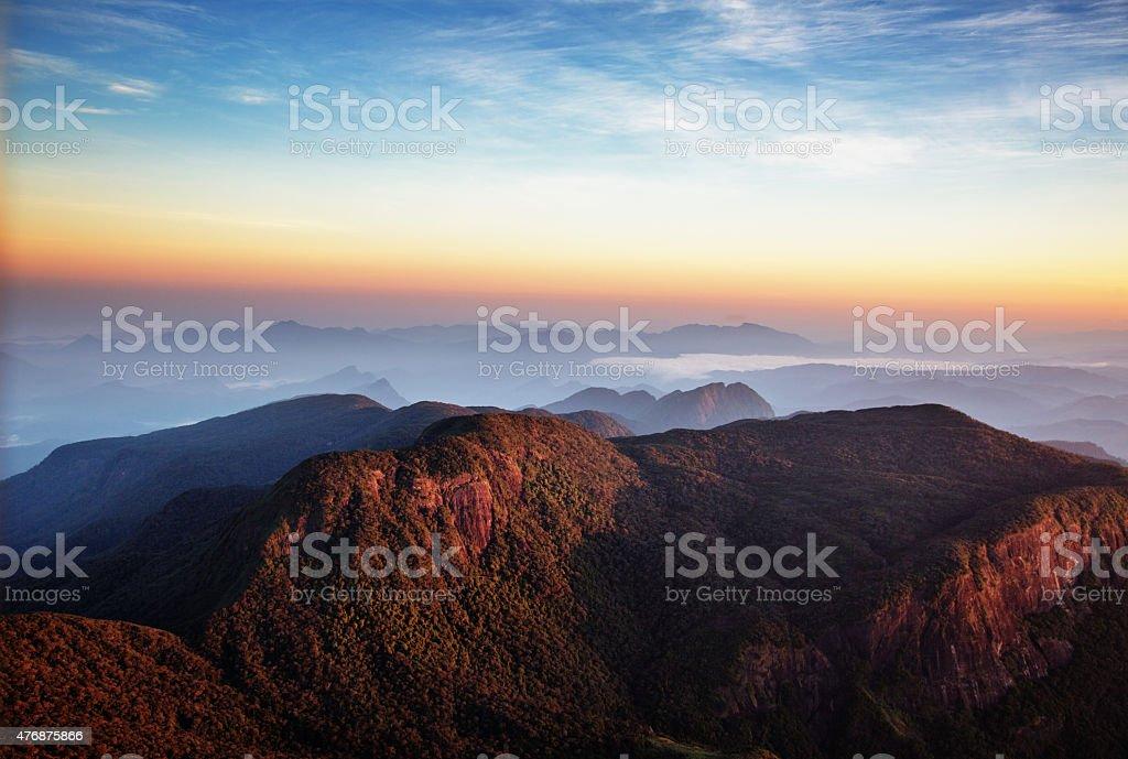 Sunrise over Adam's peak, Sri Lanka royalty-free stock photo