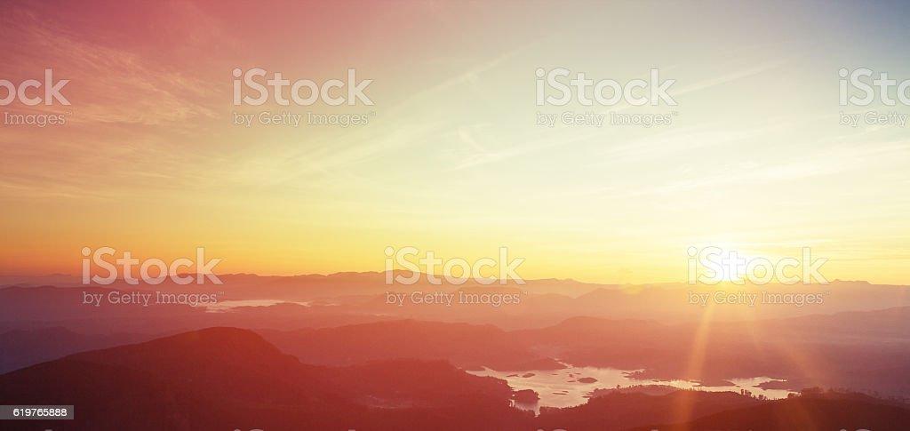 Sunrise over Adam's peak, Sri Lanka stock photo