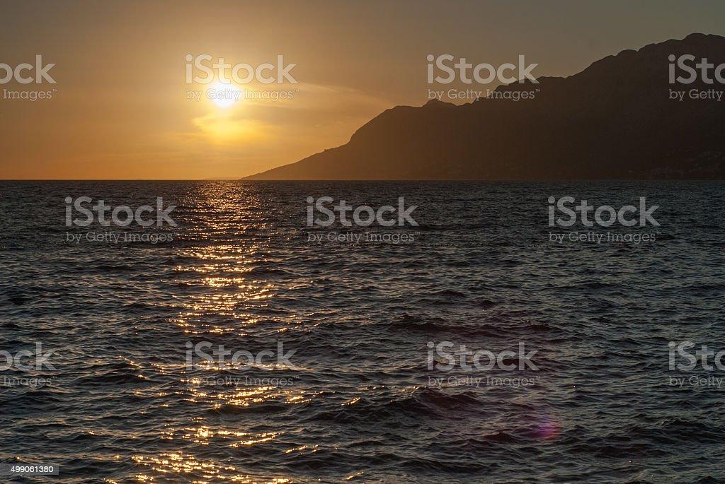 Sunrise over Adriatic Sea, Croatia stock photo