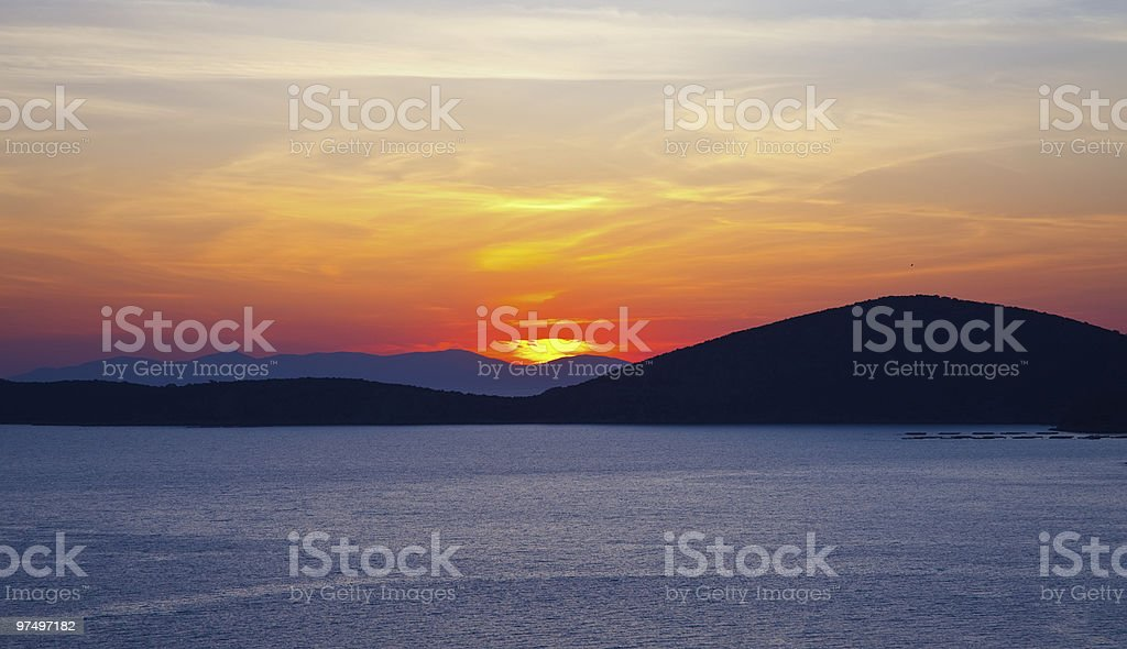 Sunrise over Aegean sea royalty-free stock photo