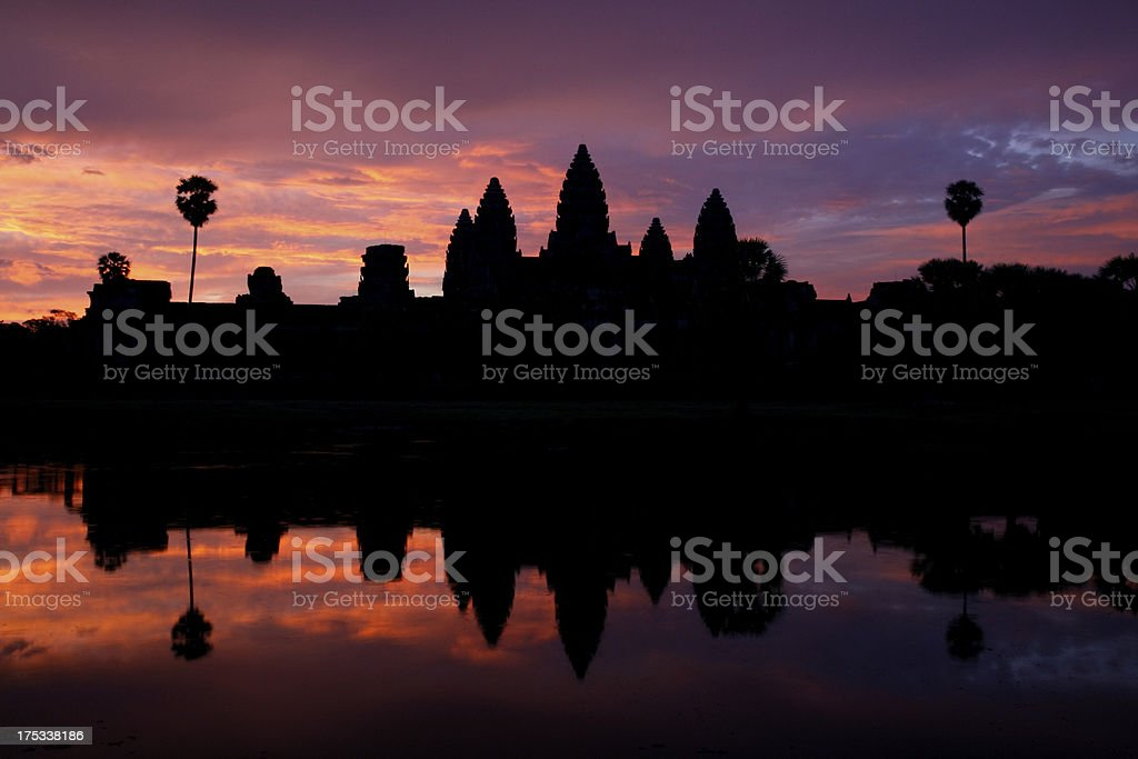 Sunrise over Angkor Wat and reflection royalty-free stock photo