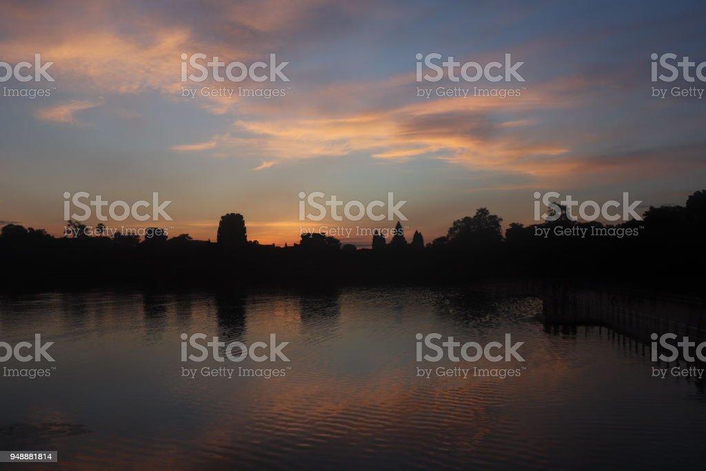 Sunrise over Angkor Wat stock photo