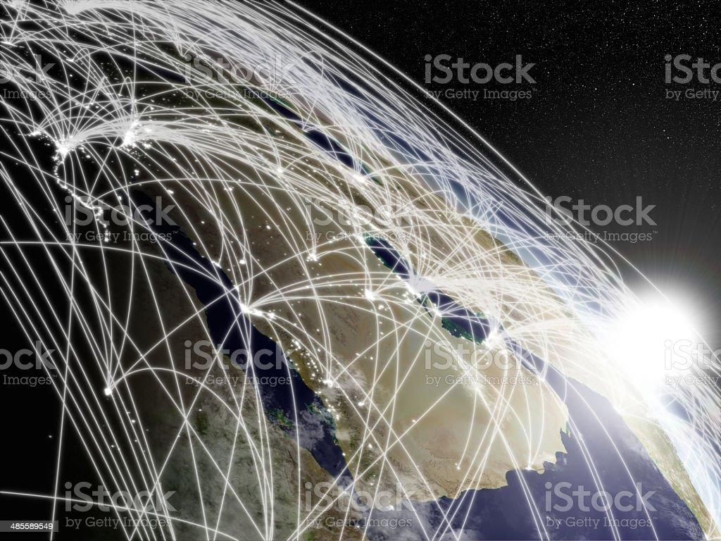 Sunrise over Arabian peninsula with network stock photo