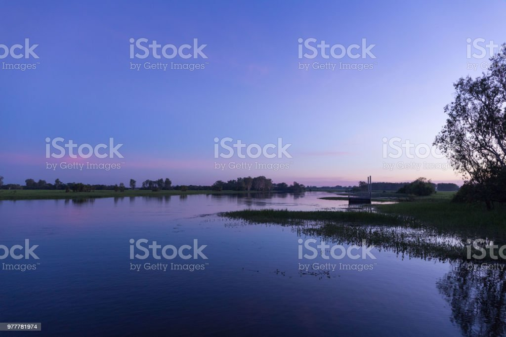 Sunrise over Australian billabong stock photo