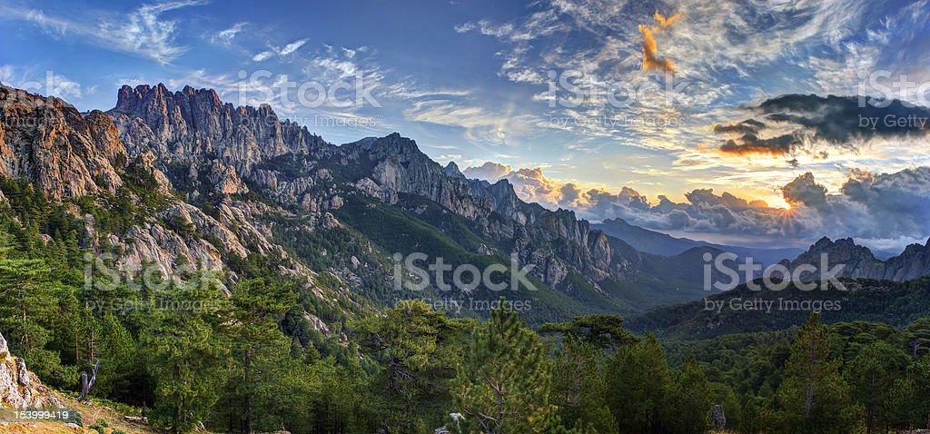 Sunrise over Bavella mountain stock photo