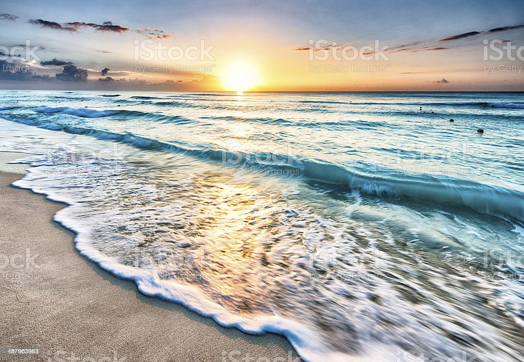 Sunrise over beach in Cancun stock photo
