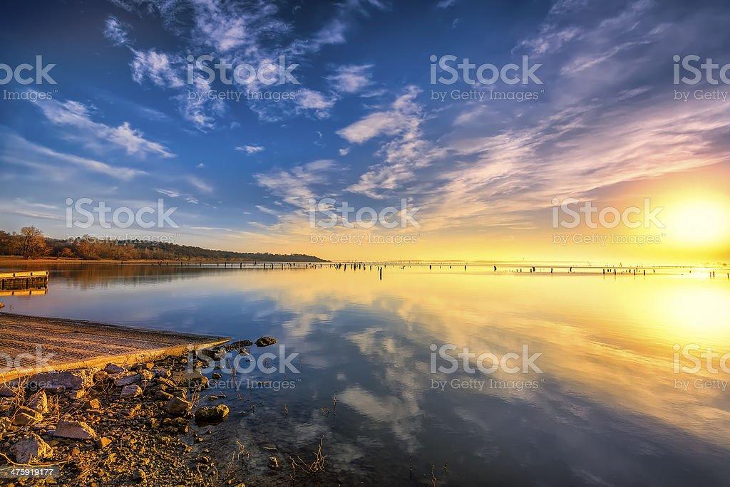 Sunrise over Benbrook Lake stock photo