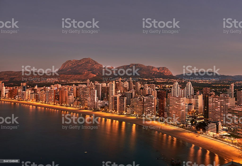 Sunrise over Benidorm city. Spain stock photo