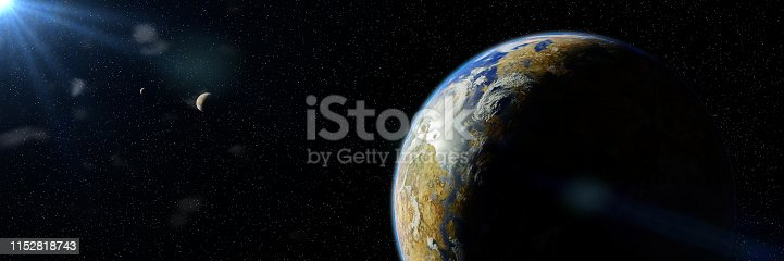 istock sunrise over biologically active exoplanet, alien planet system in (3d space illustration banner) 1152818743