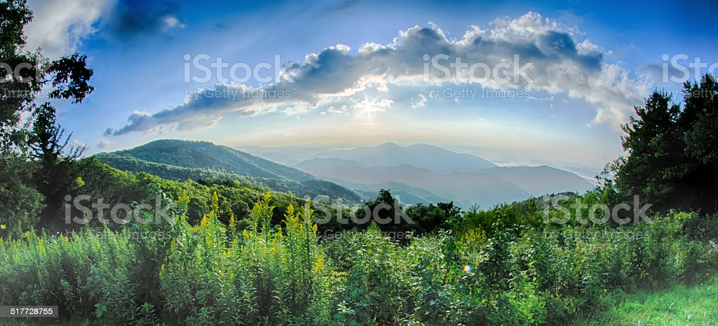 Sunrise over Blue Ridge Mountains Scenic Overlook stock photo