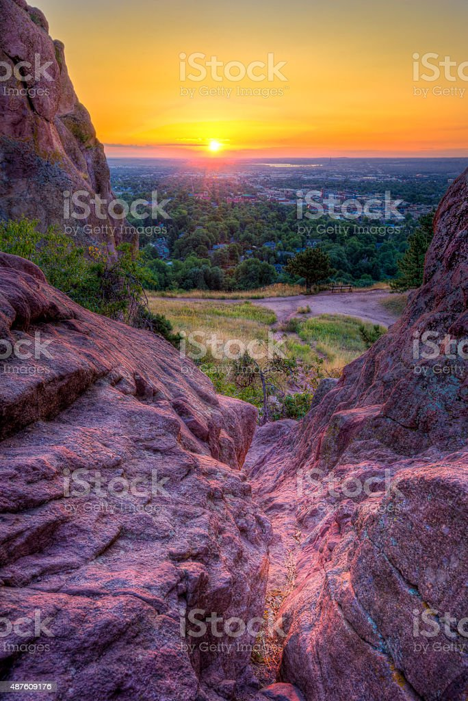 Sunrise Over Boulder, CO stock photo