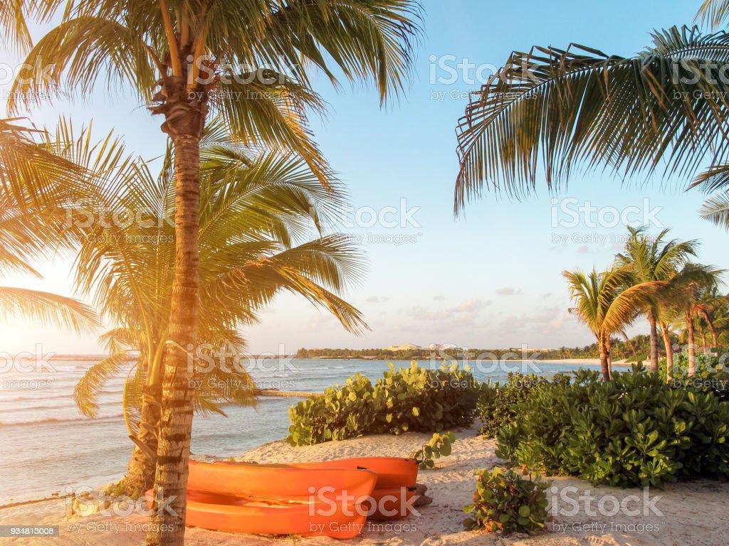 카리브 해변, 마 야 리비에라, 멕시코에 일출 - 로열티 프리 0명 스톡 사진
