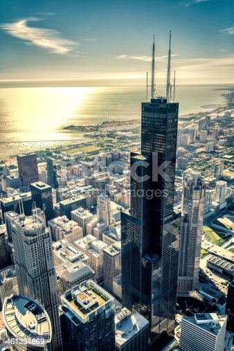 istock Sunrise over Chicago financial distict 461234669