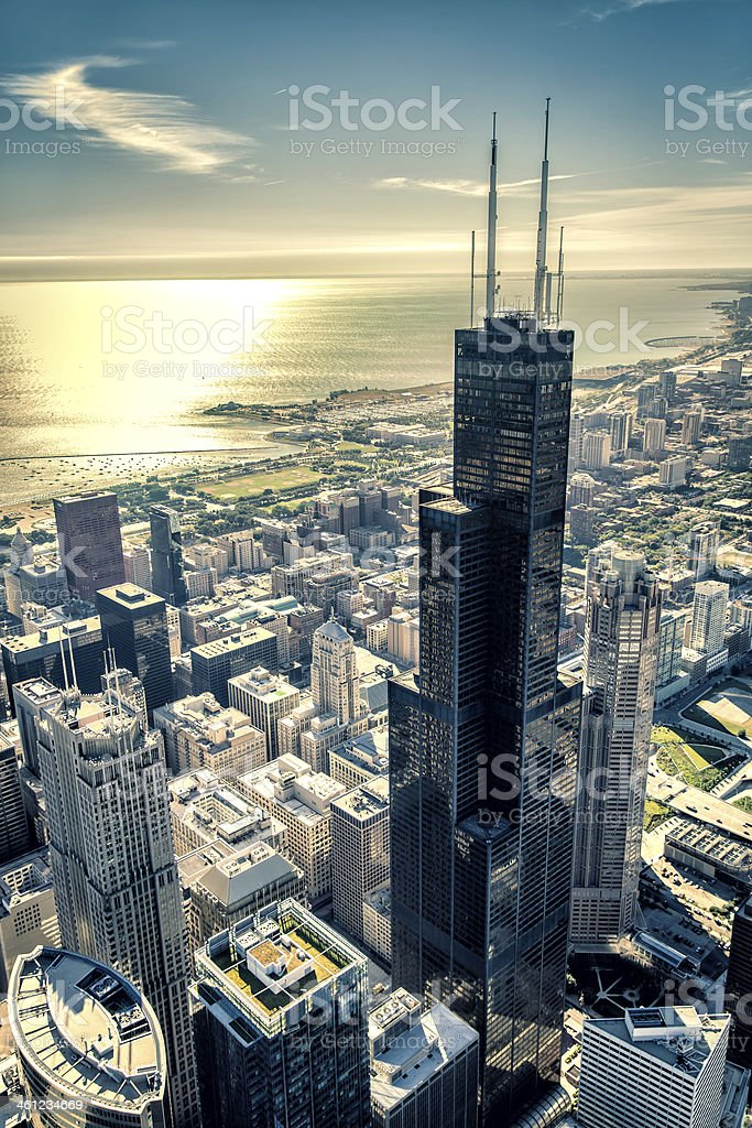 Sunrise over Chicago financial distict stock photo