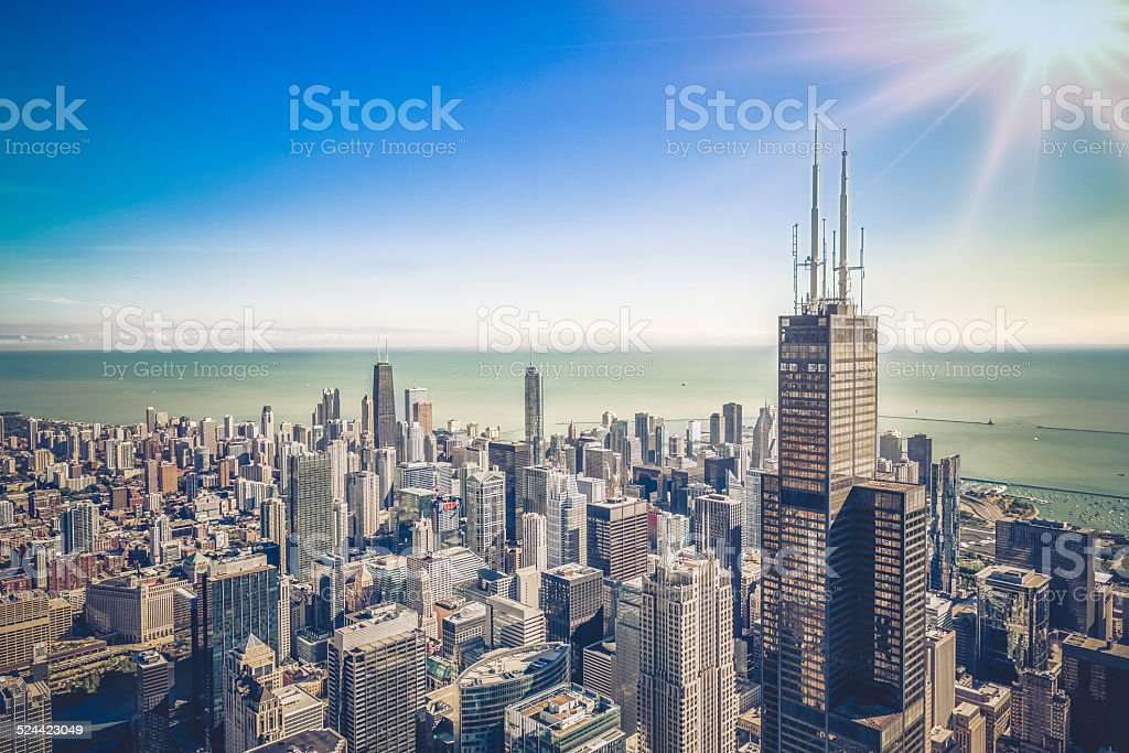 Sunrise over Chicago financial district- aerial view stock photo