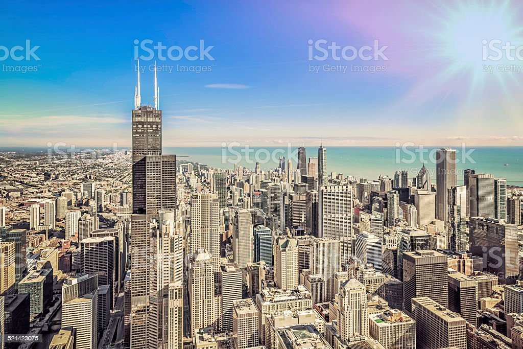 Sunrise Over Chicago Financial District Aerial View Stock