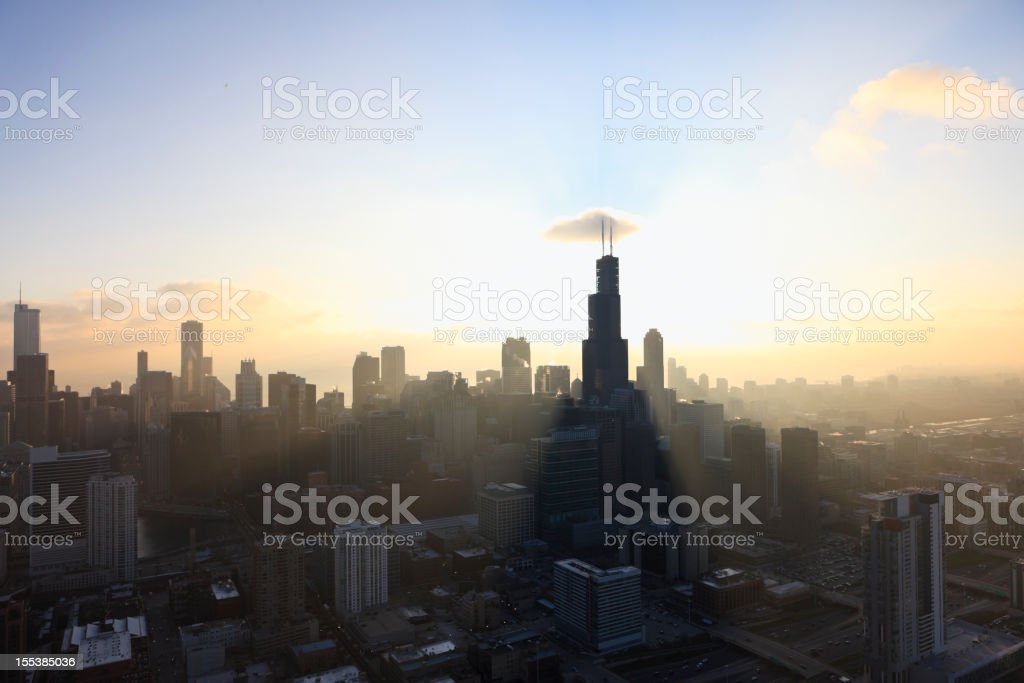 Sunrise over Chicago stock photo