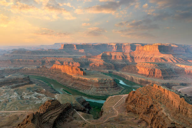 Sunrise over Colorado River in Utah Southwest USA Landscape stock photo