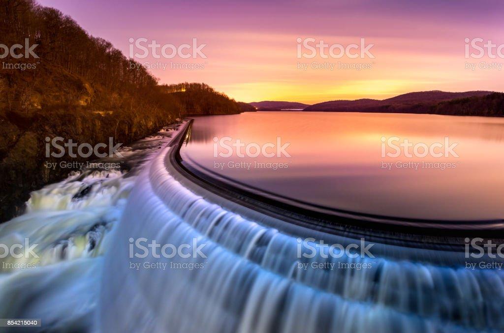 Sunrise over Croton Dam, NY stock photo