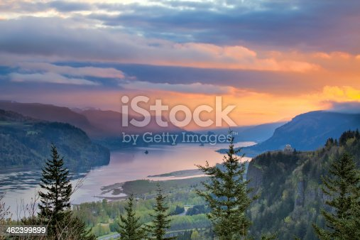Sunrise Over Vista House on Crown Point at Columbia River Gorge in Oregon with Beacon Rock in Washington State