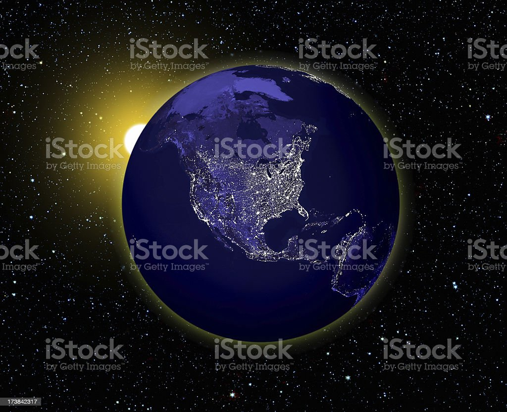 Sunrise Over Dark Planet Earth; Electric Light of Mankind's Civilization royalty-free stock photo