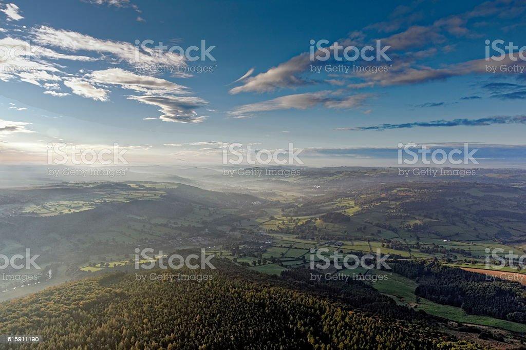 Sunrise over Derbyshire stock photo