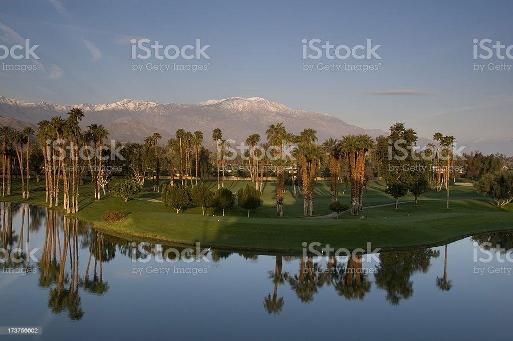 Sunrise over desert golf resort stock photo